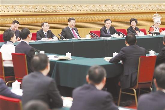 3月10日上午,中共中央总书记、国家主席、中央军委主席习近平参加十三届全国人大一次会议重庆代表团的审议。