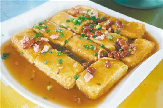 眉豆山水豆腐嫩滑入味。