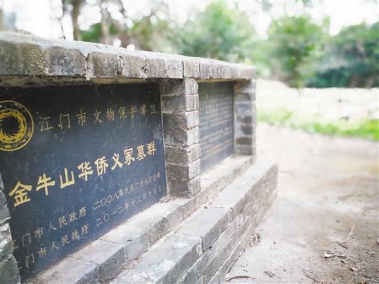 金牛山华侨义冢于2001年5月被发现,约1500穴,2008年9月被列为江门市市级文物保护单位。