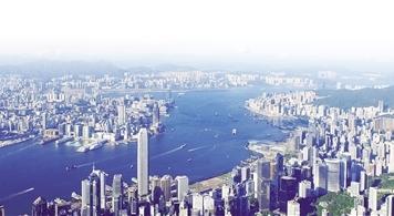 这是香港维多利亚港两岸景色。